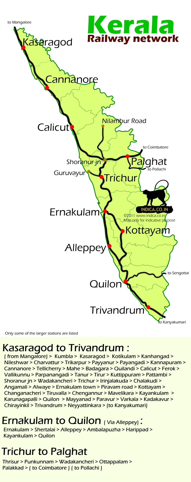 Kerala Train Map Everything about Trains ! ✤ Kerala Rail Map