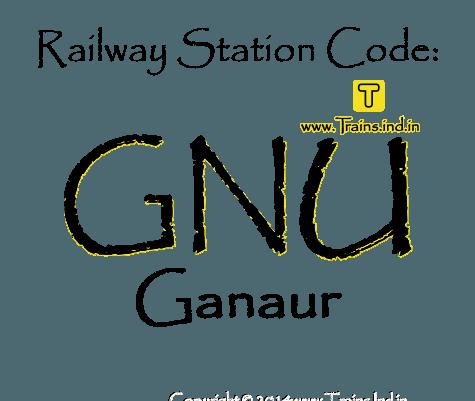 Railway Station code for Ganaur ✤ Railway Station code GNU